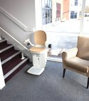 Square thumb reconditioned stairlift installed