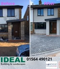 Square thumb before after block paving