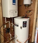 Square thumb boiler and cylinder install